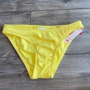 Xhilaration Yellow Ribbed Cheeky Bikini Bottom XS